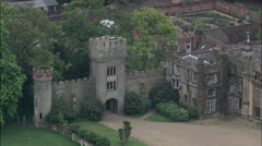 From Main Gateway To Knebworth House To Close Up Of House Stock Footage