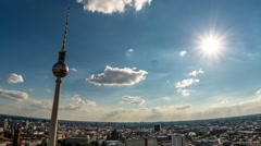 Perfect Skyline aerial of Berlin with beautiful sun, some clouds during summer Stock Footage