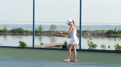 Girl tennis player expecting the tennis ball Stock Footage