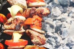 Meat grilled vegetable ash macro Stock Photos