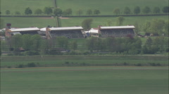 Racing Stables And Racecourse At Newmarket Stock Footage