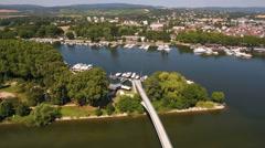 Wiesbaden-Schierstein marina. Aerial view Stock Footage