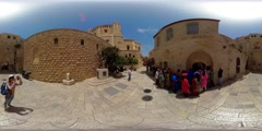 360VR video of tourists at entrance plaza of King David tomb on Mount Zion Stock Footage