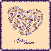 Bohemian style poster with feathers, arranged in heart Stock Illustration