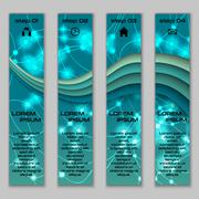 Vector design vertical banner set with abstract glowing elements Stock Illustration