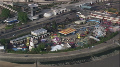 Close View Of Fun Fair At Southend Pier Stock Footage