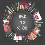 Back to School Title Texts with Items in a Circle for Poster Design - stock illustration