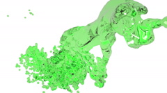 Abstract green liquid flow on white background. Stock Footage