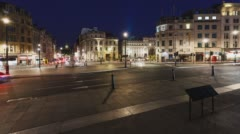 Trafalgar Square Time-Lapse in the night in London, Long Shutter - stock footage