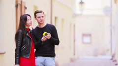 Selfie photo by caucasian couple traveling in Europe. Romantic travel woman and Stock Footage