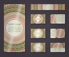 Vector vintage business and invitation card set. Floral mandala pattern and o Stock Illustration