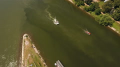 Wiesbaden-Schierstein marina and boats. Aerial view Stock Footage