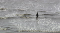 Iron Men On Formby Beach Anthony Gormley's Stock Footage