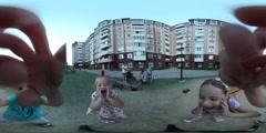 360Vr Video Happy Kids Grimacing on Playground Kiev City Day Residential House Stock Footage
