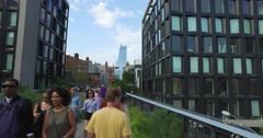 POV Walking on The High Line in Manhattan  	 Stock Footage