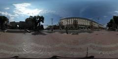 360Vr Video Panorama of Maidan Nezalezhnosti Kiev City Day Old Buildings Stock Footage