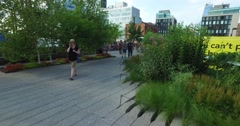 Visitors Walk on the High Line in Manhattan   Stock Footage