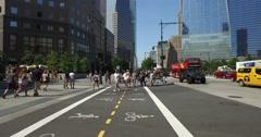 Pedestrians Cross Hudson River Greenway Bike Trail   Stock Footage
