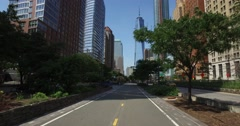 View of Freedom Tower and Financial District as Seen from Hudson River Greenway  Stock Footage