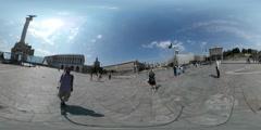 360Vr Video People Maidan Nezalezhnosti Kiev Day Founders of Kiev Monument Stock Footage