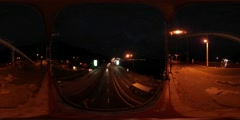 360Vr Video People on a Night Bridge Highway Cars Are Driven by the Road Under Stock Footage