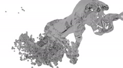 Abstract grey liquid flow on white background. Stock Footage