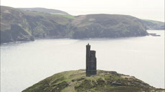 Port Errin, Lookout Tower On Nearby Cliff Side Stock Footage