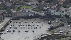 Port St Mary's, Tide Out, Boat In Mud Flat Stock Footage