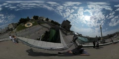 360Vr Video People on Observation Deck Maidan Nezalezhnosti Kiev Day Stock Footage