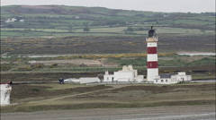 Lighthouse On Point Of Ayre Stock Footage
