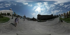 360Vr Video Man Walking Through Arch Independence Monument City Day Maidan Stock Footage