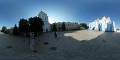 360Vr Video Man is Filming Michael's Monastery Panorama of Cobblestone Square Stock Footage