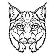 Wildcat lynx mascot head isolated sketch line art - stock illustration