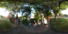 360Vr Video Man on Playground in Kiev City Day Cityscape Families With Kids - stock footage