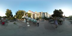 360Vr Video Man on Playground in Kiev City Day Cityscape Families With Kids Stock Footage
