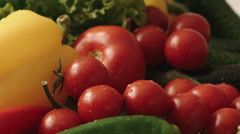 Close up turning vegetables on white background, pear, tomatoes, pepper, salad Stock Footage