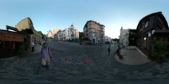 360Vr Video Man in Kiev Downtown City Day Cityscape People Are Walking by - stock footage