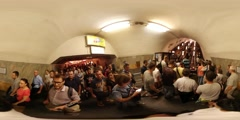 360Vr Video People Getting up on Moving Staircase Kiev City Day Underground Stock Footage