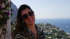 Young Girl at a Beautiful View in Capri Island, Italy Stock Footage