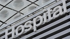 Health Care Hospital Sign In Modern Building Stock Footage