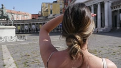 Young Girl Discovering the Basilica in Napoli Stock Footage