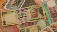 Portrait of Gandhi on Indian rupee Stock Footage