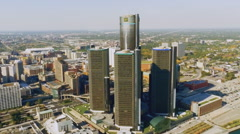Detroit city from above Stock Footage