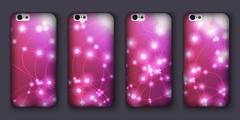 Set of phones covers with abstract bokeh waves. Vector illustration. Stock Illustration