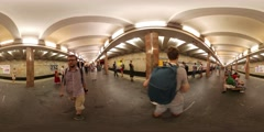 360Vr Video Man Takes a Train at Underground Station Kiev City Day People Are Stock Footage