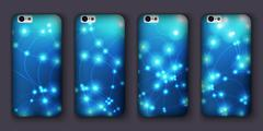 Set of phones covers with abstract bokeh waves. Vector illustration. Piirros