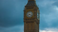 Big Ben time lapse hyper lapse with cloudy weather, close up Stock Footage