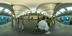 360Vr Video Man on Platform Train Leaves Kiev City Day Underground Station Stock Footage