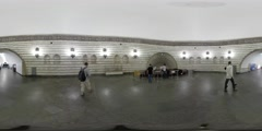 360Vr Video People at Underground Station Kiev City Day People Are Walking Stock Footage