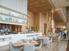 Defocus of modern restaurant of hotel Stock Photos